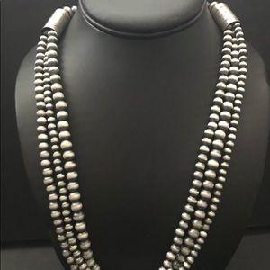 Jewelry - SterlingSilver 3 Strand NavajoPearlsBead Necklace